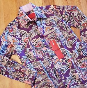 NWT ELIE BALLEH Purple Paisley Boys Milano Shirt